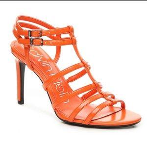 Calvin Klein orange high heeled sandals
